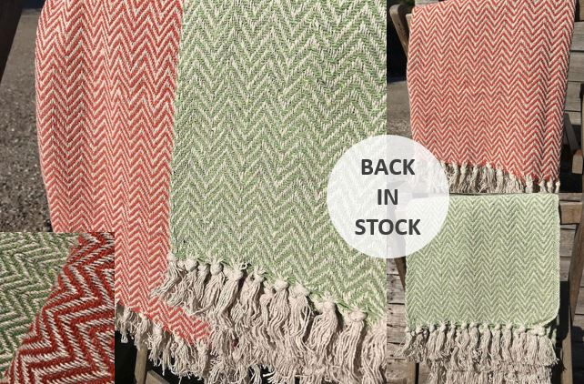 Gorgeous Terracotta & Sage Chevron throws are back in stock