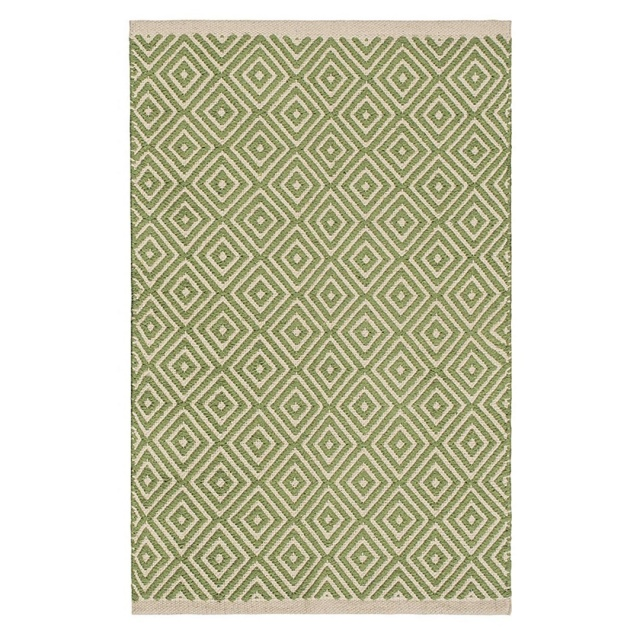 Sage Green Diamond Weave Cotton Handloom Rug  Handmade In India 3 Sizes Fair Trade GoodWeave