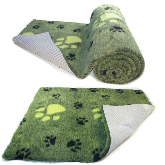Lime Green  Large Black Paw  High Grade Vet Bedding Non-Slip back Bed Fleece for Pets