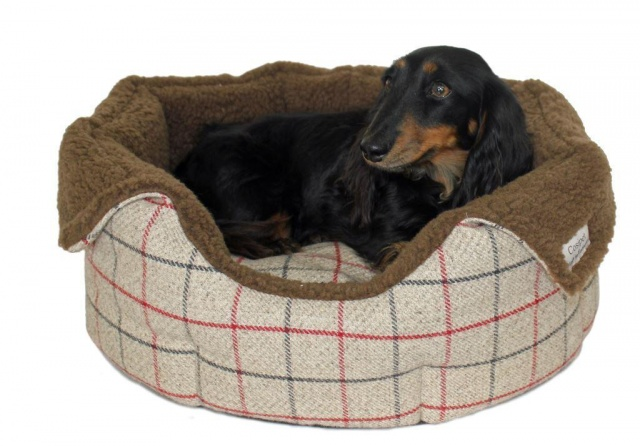 Picture of: Coffee Coloured High Sided Luxury Tweed Slumbernest Dog Beds