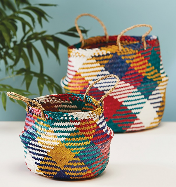 Multi-colour Check-Pattern Natural Seagrass Basket  2 Sizes