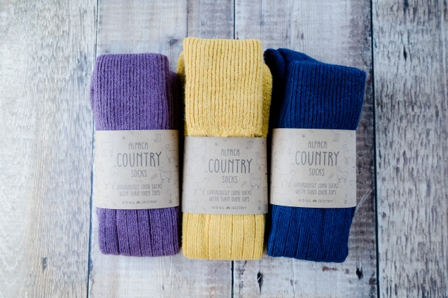 Gift Pack Idea C  3 pairs of Alpaca Country Socks, Knee High Turn Down, Cushioned Sole, 75% Alpaca Wool.  Alpaca Sock