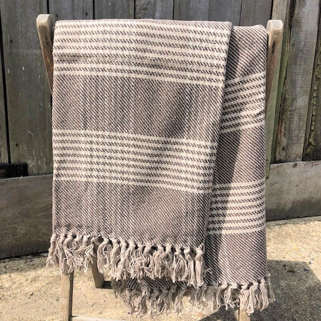 Indian Handloomed Brown Check  Throw 100% Recycled Cotton  Size: 130cm x 150cm