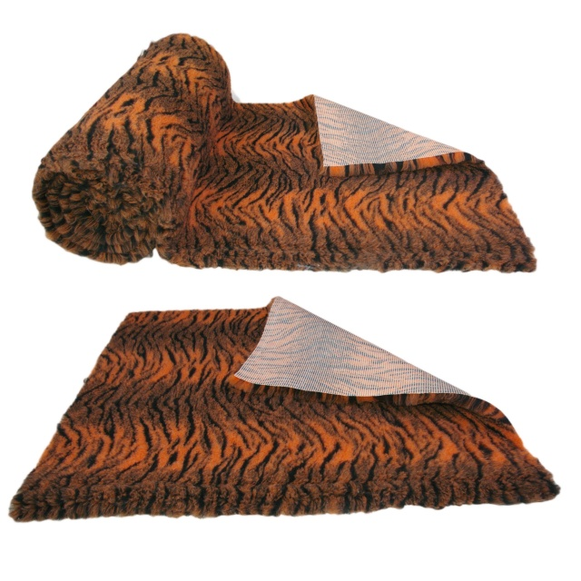 Tiger Print Orange Black High Grade Vet Bedding Non-Slip back Bed Fleece for Pets