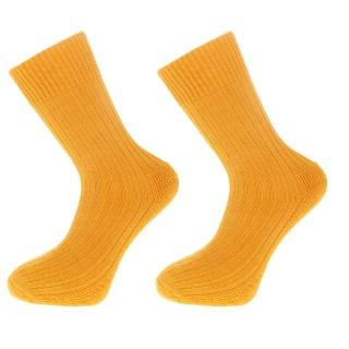Alpaca Wool Walking Socks with Cushion Sole and Heel  Mustard Yellow  75% ALPACA WOOL