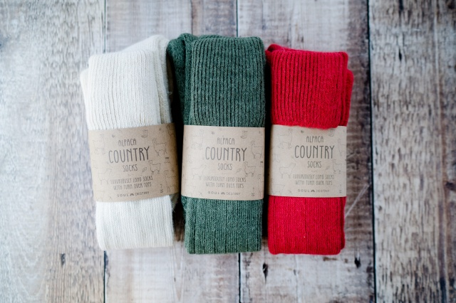 Gift Pack Idea A 3 pairs of Alpaca Country Socks, Knee High Turn Down, Cushioned Sole,  75% Alpaca Wool.  Alpaca Sock