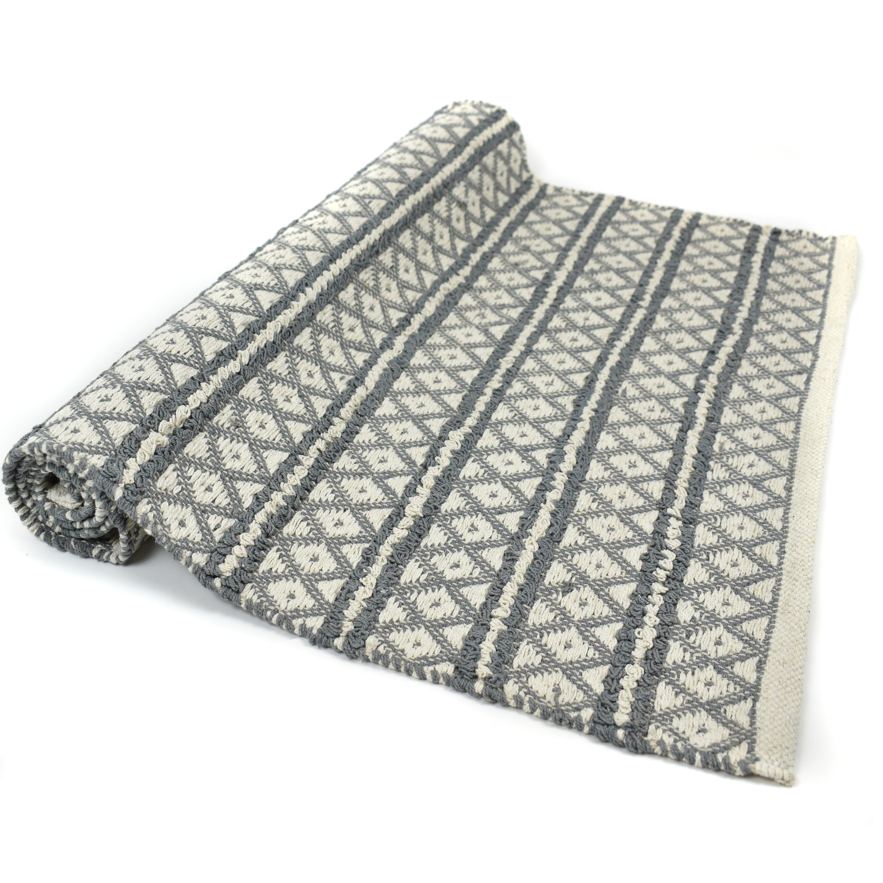 Grey and cream Aztec design 100% recycled cotton rug with closed seam edge  Size: 70cm x 120cm