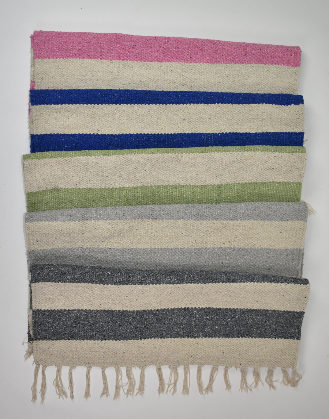Colourful nautical large stripe rectangle shaped recycled cotton rug