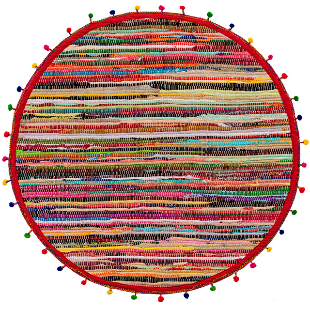 Round Pom Pom Recycled Rag Rug  70% Recycled Cotton 30% Polyester 90cm Diameter Fair Trade GoodWeave