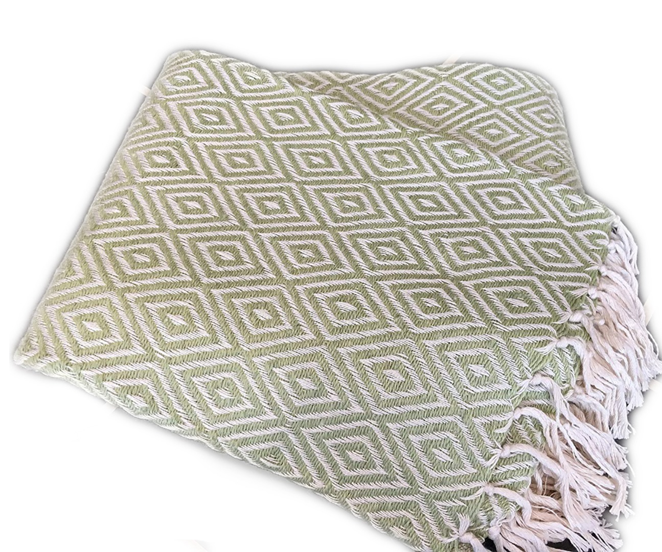 Sage Diamond Weave Recycled PET Yarn Blanket Throw