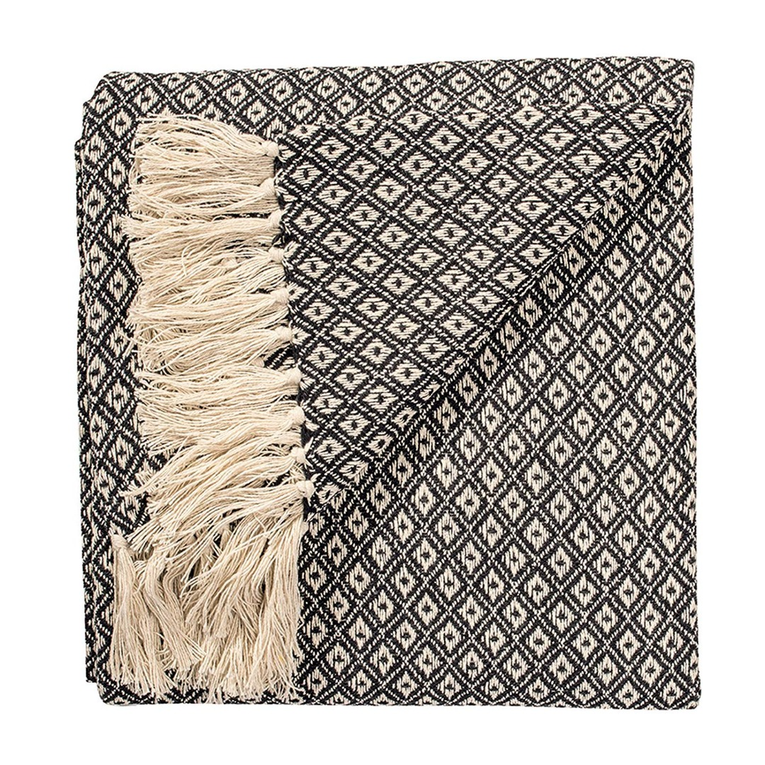 Black Diamond Weave Soft Cotton Handloom Blanket Throw 130cm x 180cm.