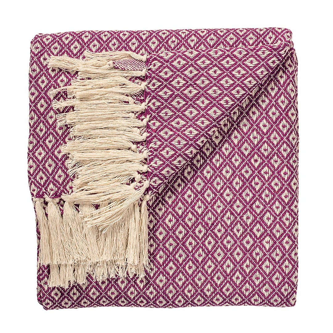 Purple  Diamond Weave Soft Cotton Handloom Blanket Throw 130cm x 180cm.