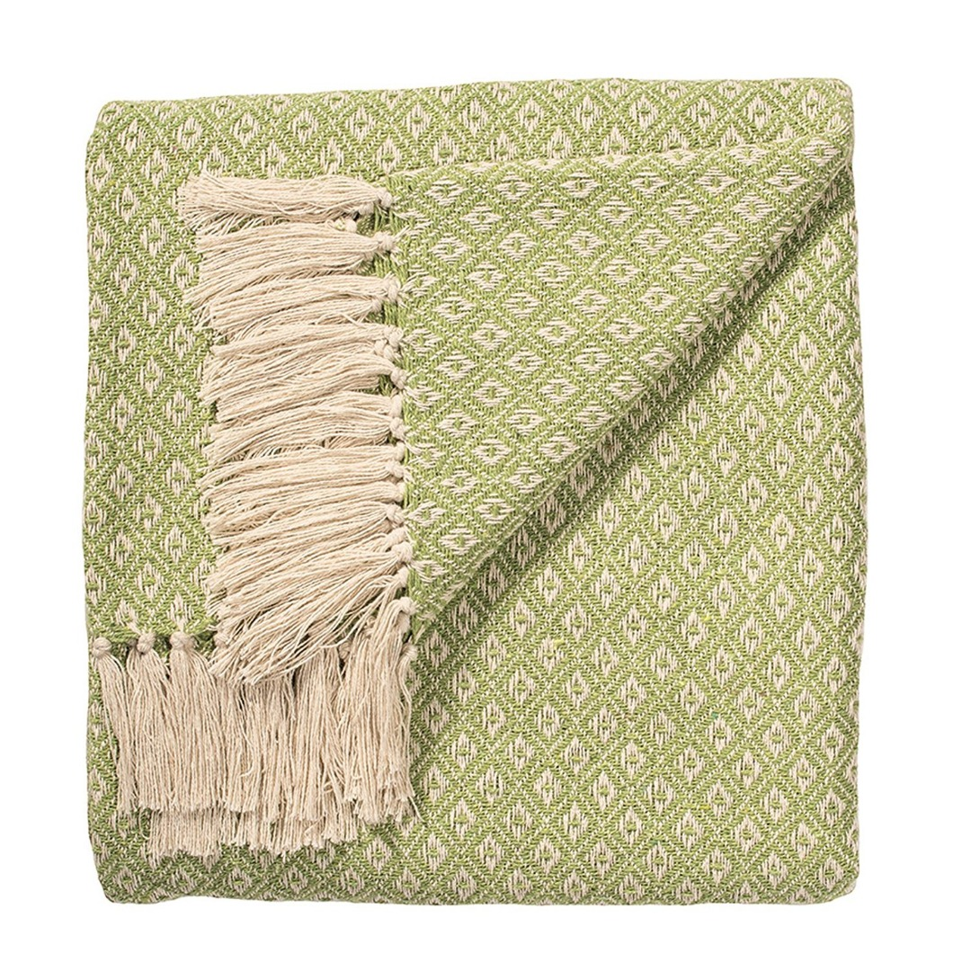 Sage Green Diamond Weave Soft Cotton Handloom Blanket Throw 180cm x 130cm.