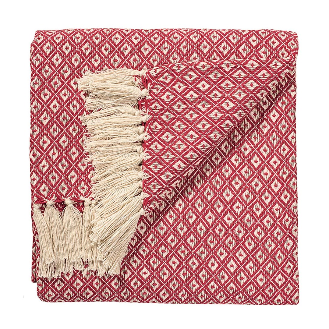 Red Diamond Weave Soft Cotton Handloom Blanket Throw 130cm x 180cm.