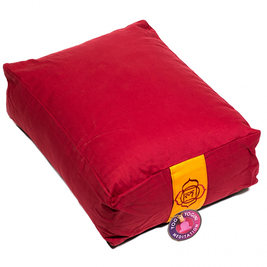 Red Rectangular Bolster Cushion. Size 38cm x 28cm x 15cm