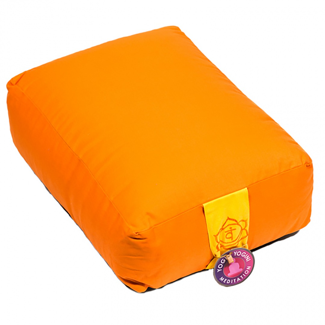 Orange Chakra  Rectangular Bolster Cushion. Size 38cm x 28cm x 15cm