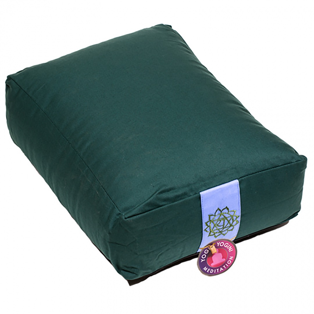 Green Chakra  Rectangular Bolster Cushion. Size 38cm x 28cm x 15cm