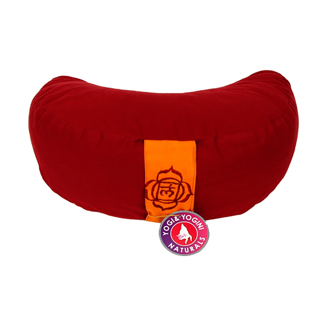 Crescent Moon Red Chakra  Meditation Cushion  Dimensions: 33cm 13 cm