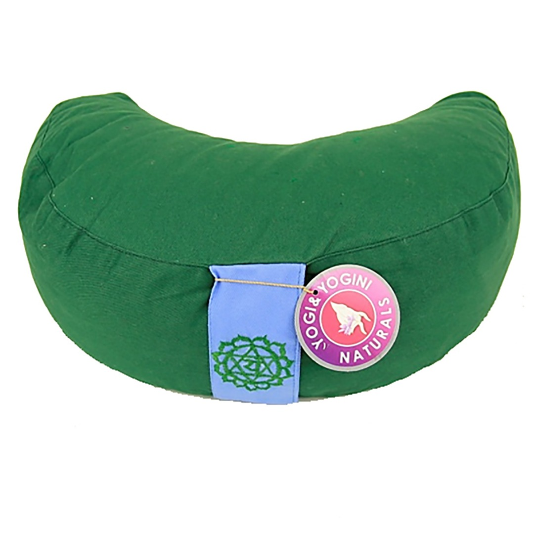Crescent Moon Green Chakra  Meditation Cushion  Dimensions: 33cm 13 cm
