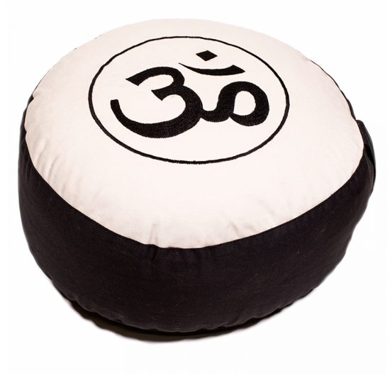 Round Meditation Black and Cream Ohm Cushion   Dimensions: 33cm 17 cm
