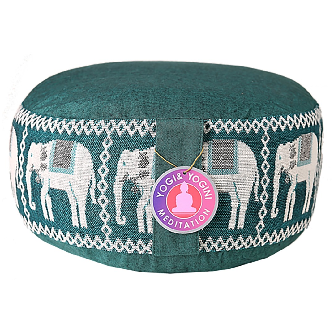 Round Meditation Green Elephant Print Cushion  Dimensions: 33cm 16 cm