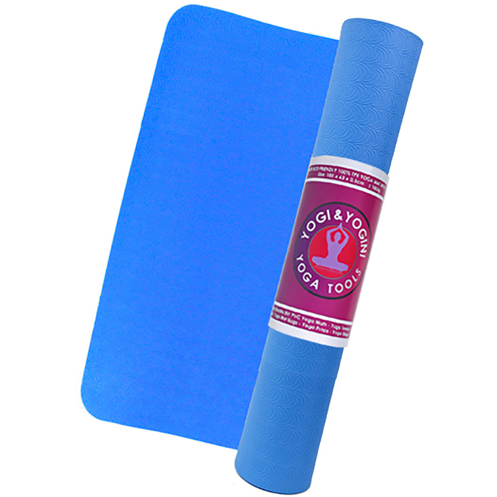 Blue Yogi & Yogini TPE Yoga Mat with 1 year guarantee!  + Carrying strap