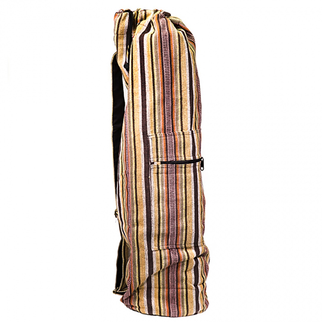 Brown Striped Drawstring Yoga Mat Bag Size: 74cm 19 cm