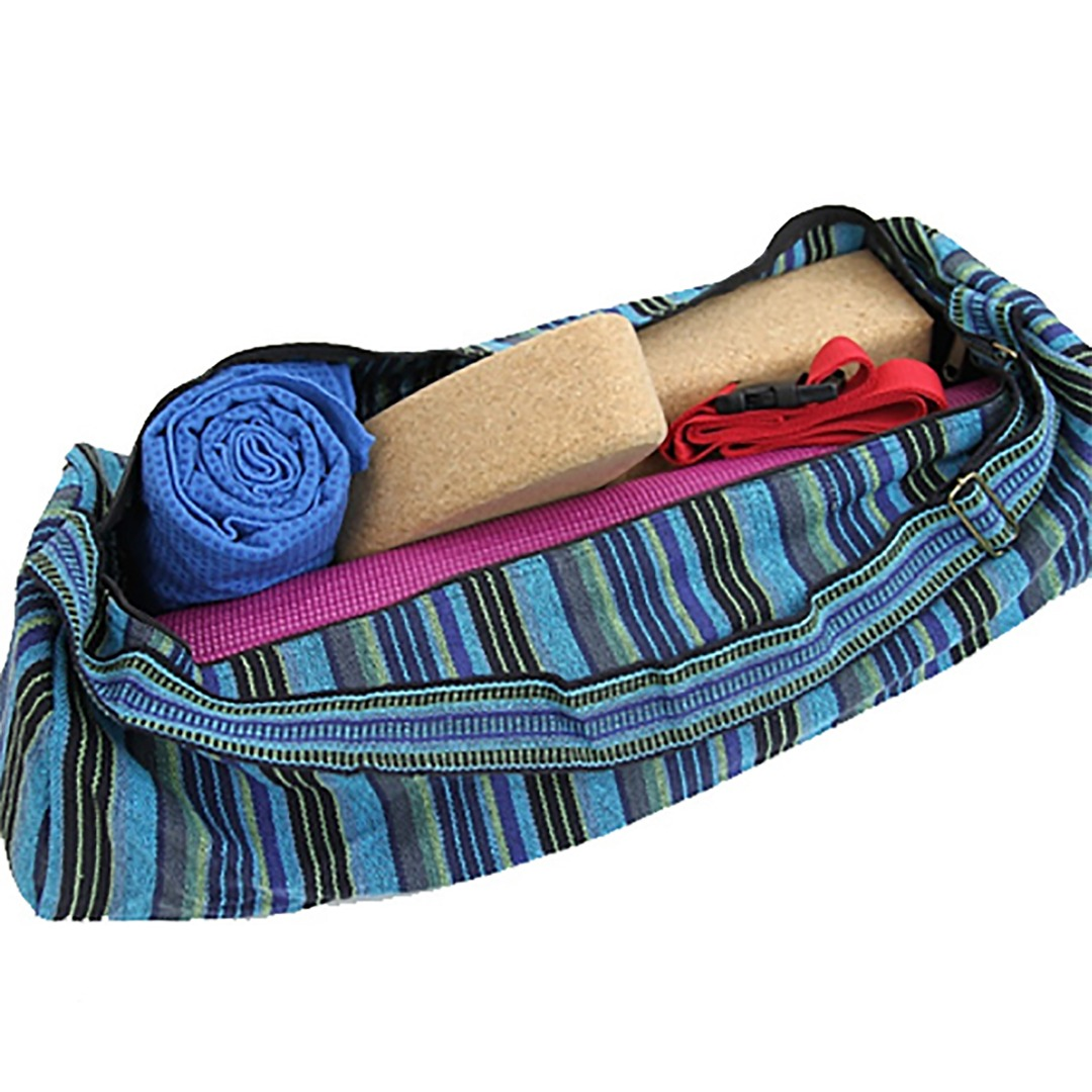 Blue Stripe Yoga Mat Bag with Zip Cotton  Size: 67cm 24 cm