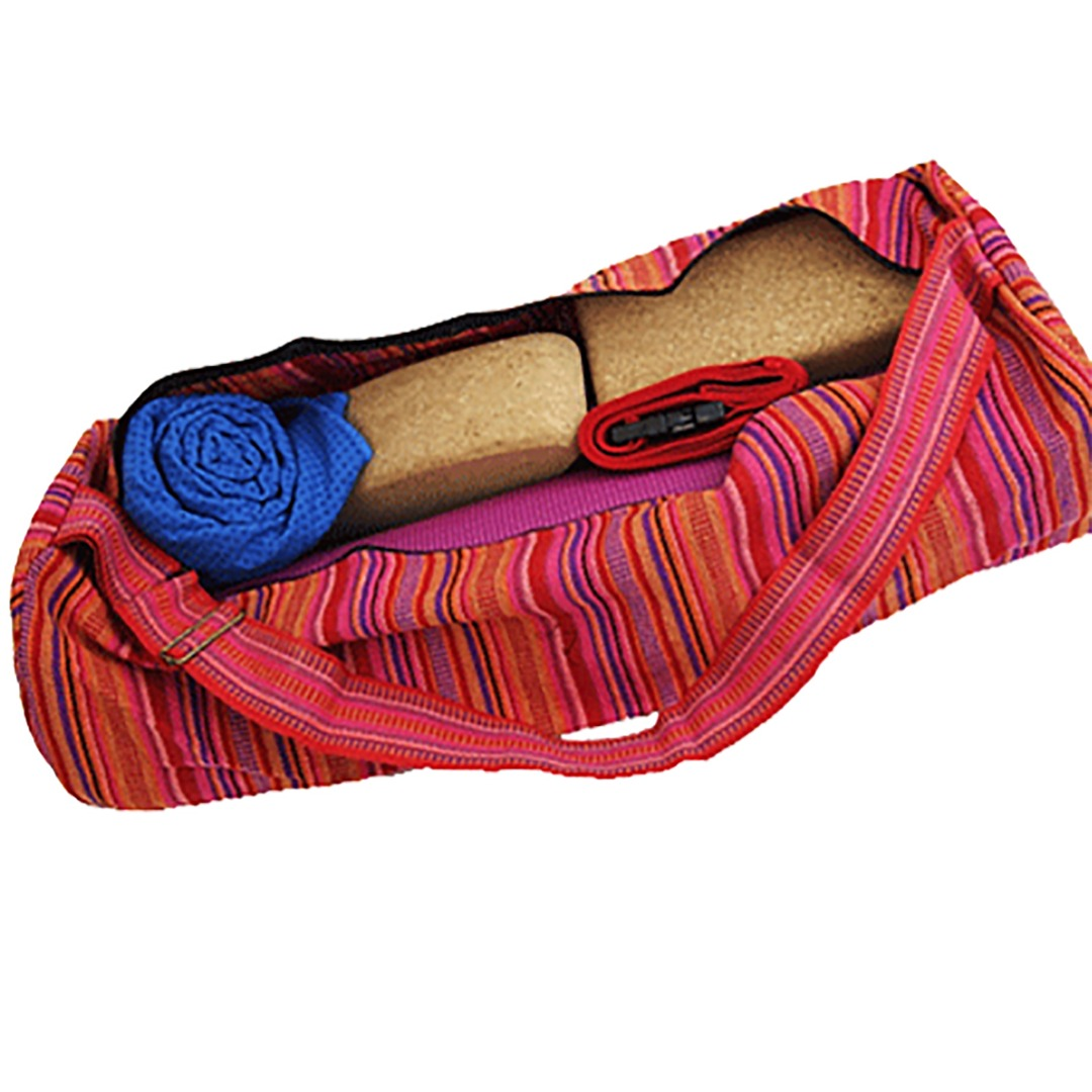 Pink Stripe Yoga Mat Bag with Zip  Cotton  Size: 67cm 24 cm