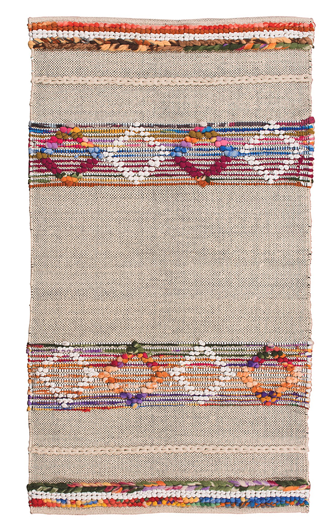 Sikri Diamond Rug Natural Rug with Recycled Multi Fleece 2 Sizes Fair Trade GoodWeave