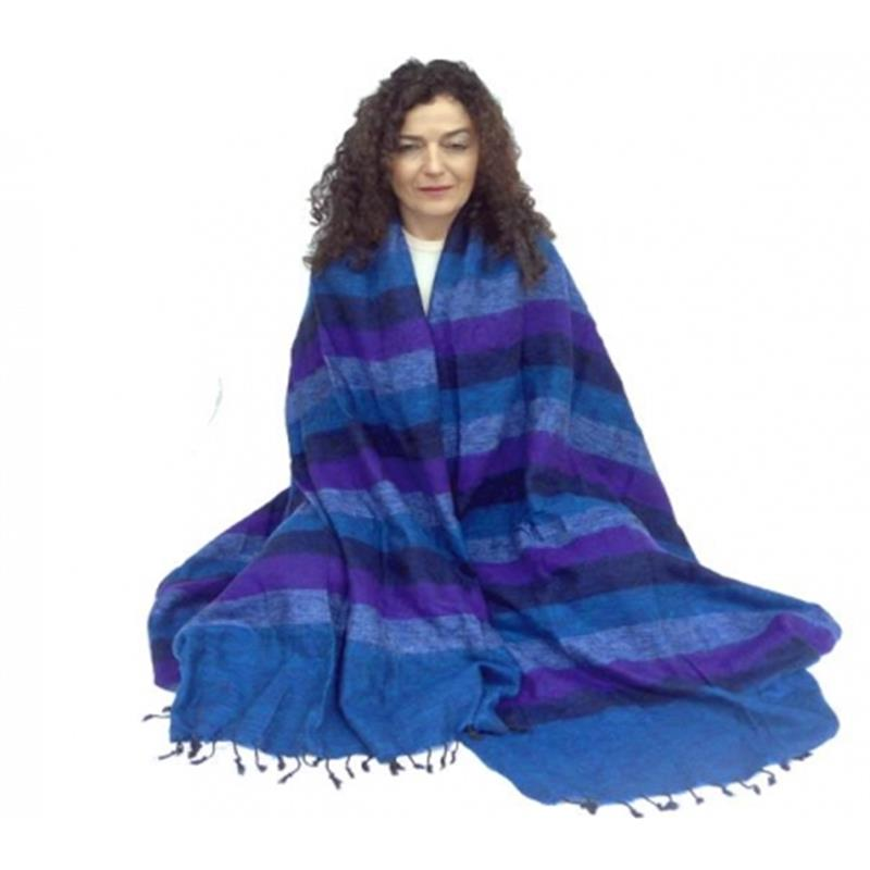 Meditation Yoga shawl Blanket  blue/violet  115cm x 245cm