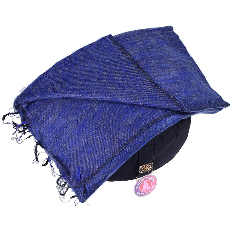 Meditation Yoga Pashmina Shawl plain dark blue   200cm x80cm