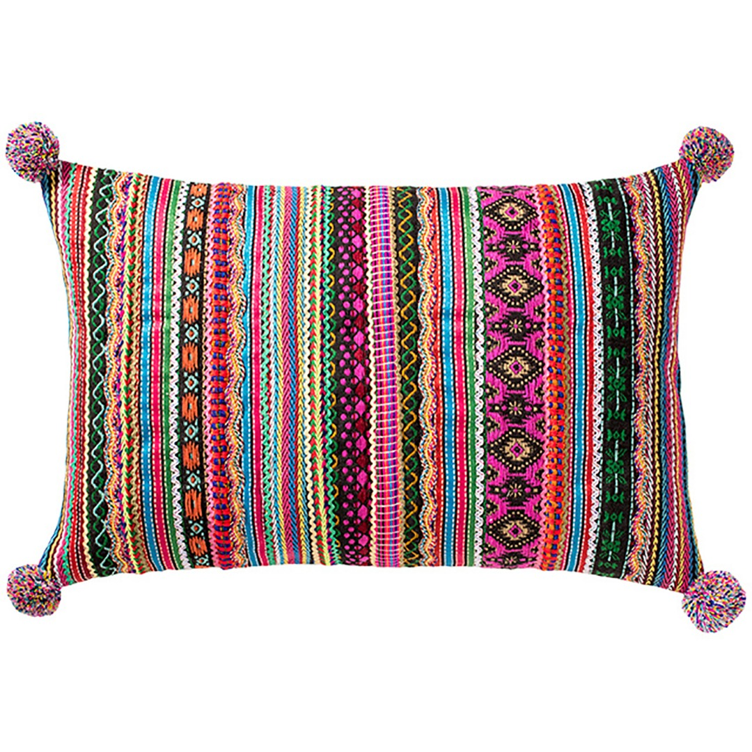 Durry Stripe Cushion  with Lace & Pom Poms