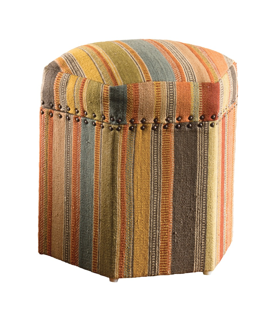 Handloom stripe kilim hexagnol wood footstool storage Fair Trade