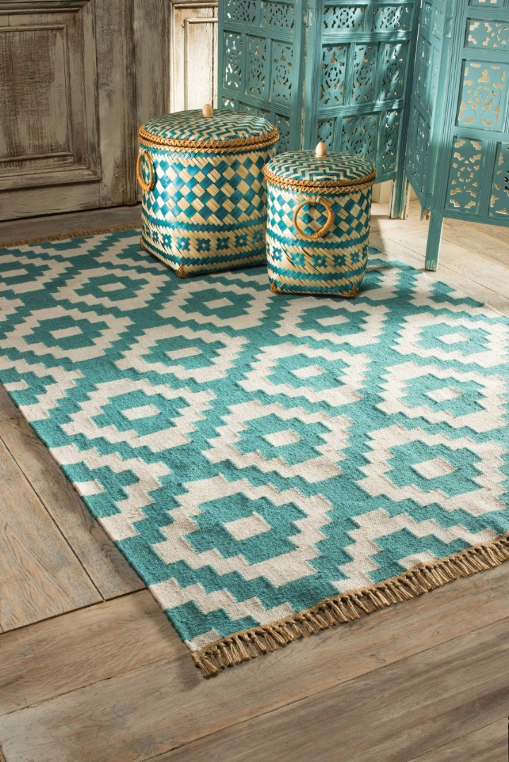 Indoor/Outdoor Turquoise Recycled Soft Handmade Patterned Rug Fair Trade