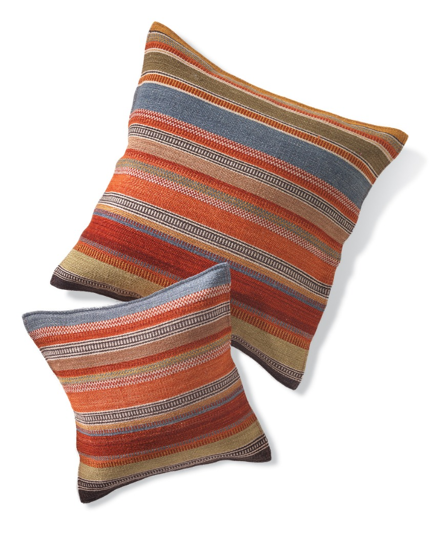 Natural Handmade Wool & Cotton Muted Stripe Ooty Kilim Cushion