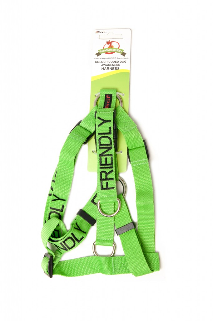 FRIENDLY DOG,  Dog Strap Harness Green Colour Coded