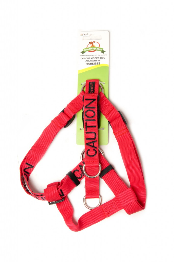 CAUTION DOG,  Dog Strap Harness Red Colour Coded