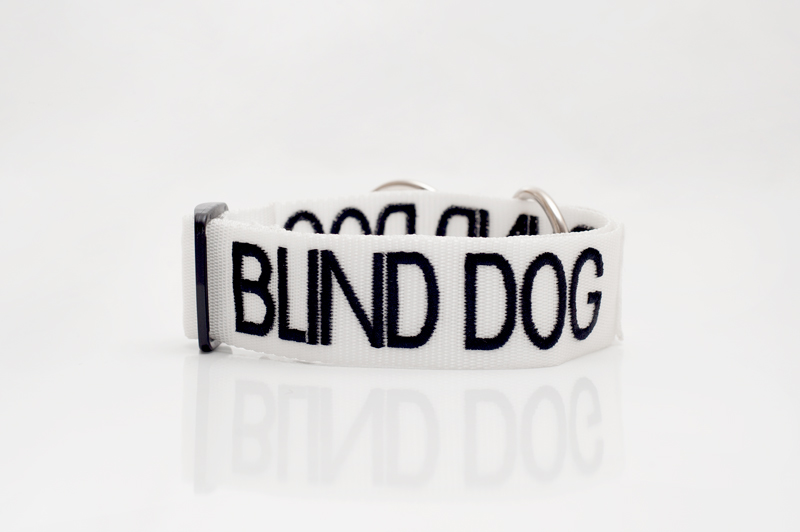 BLIND DOG, Dog collar Semi Choke and Buckle Collars White Colour Code