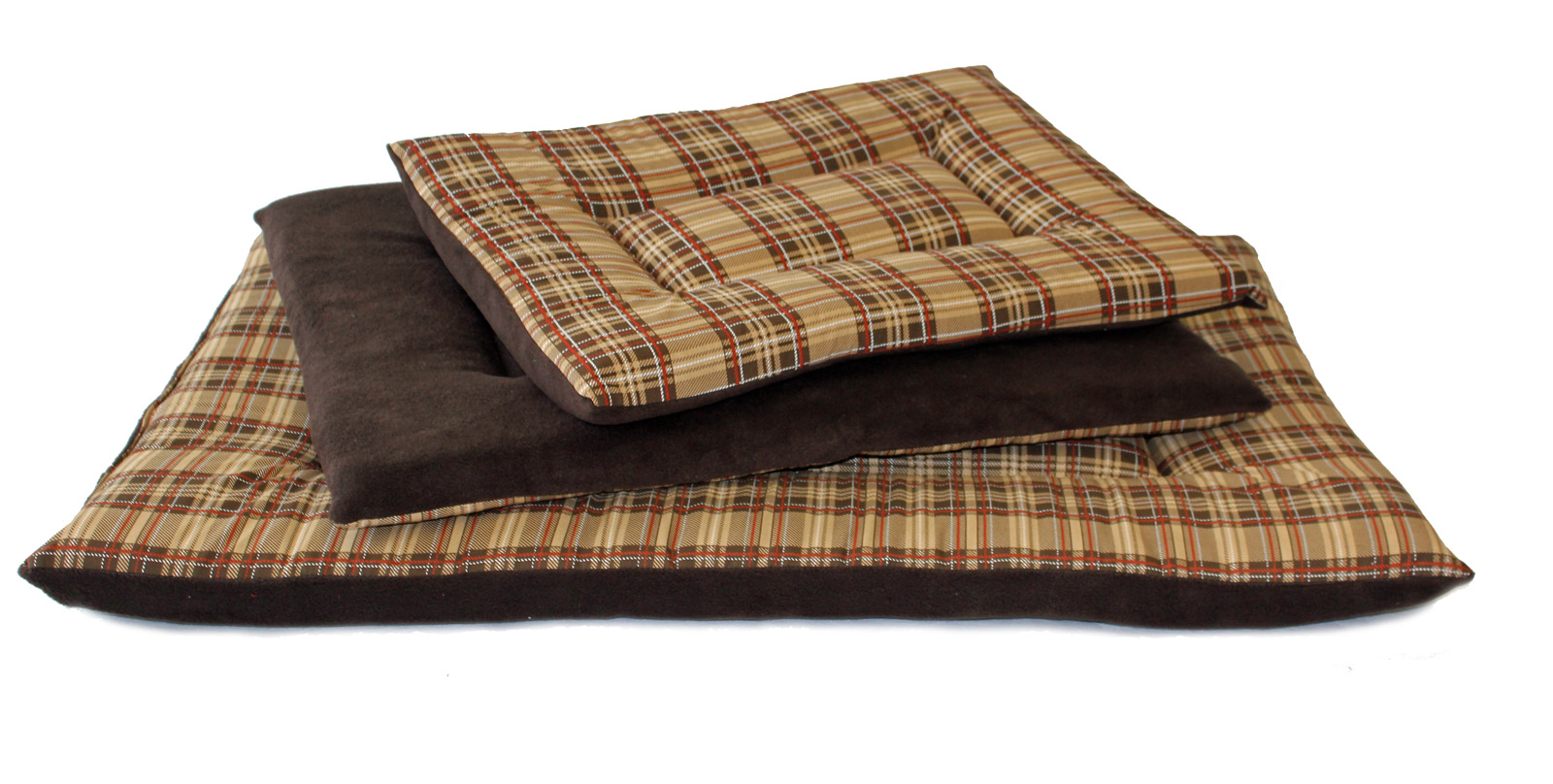 Dog Bed Mattress Fawn cheque cotton Brown fleece bottom