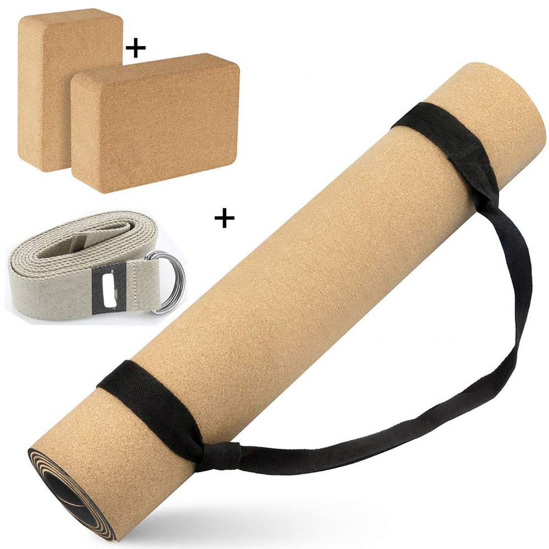 Eco Friendly Cork Yoga Gift Pack (Yoga Mat, 2 x Block and Strap)