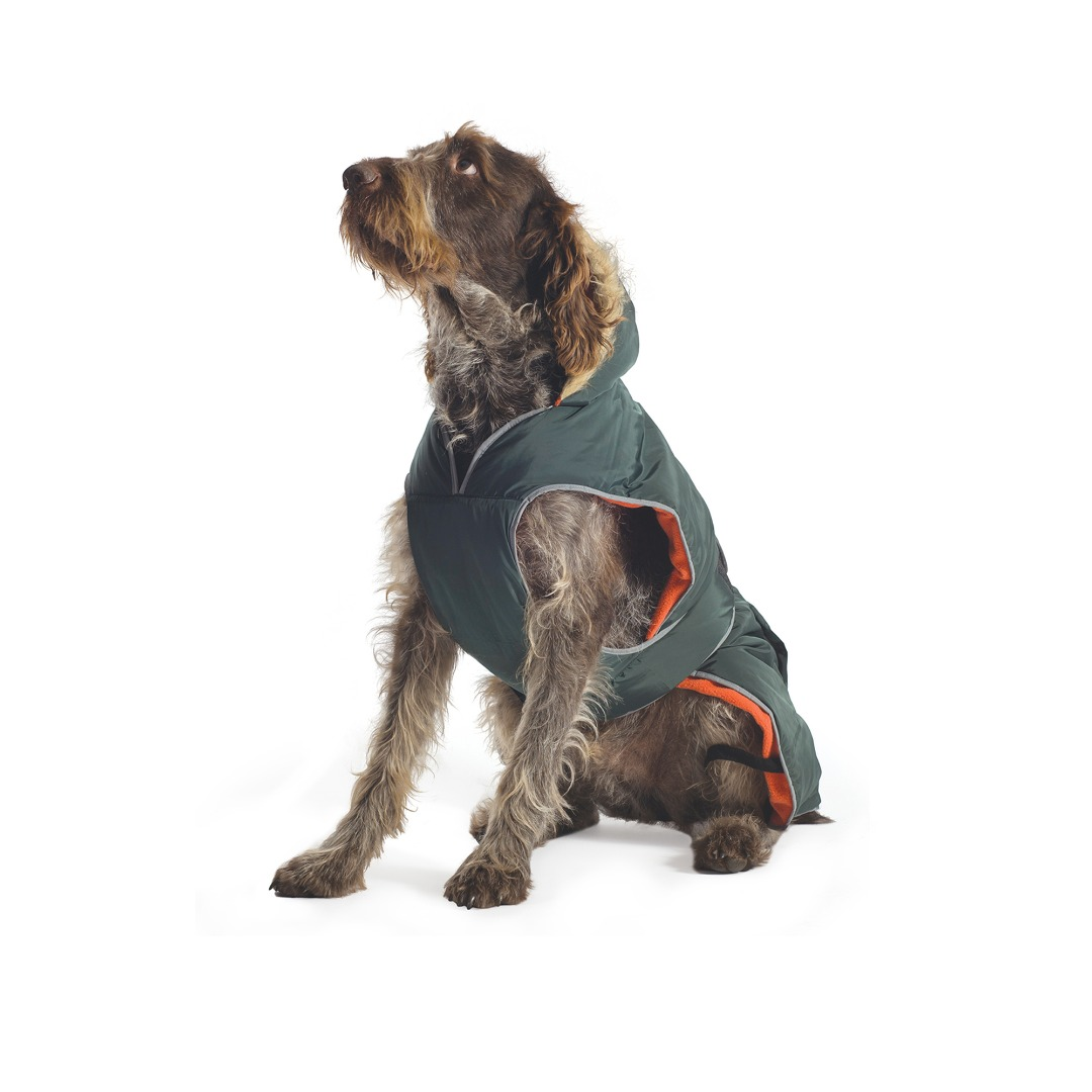 Green Parka Dog Coat Green with Orange lining