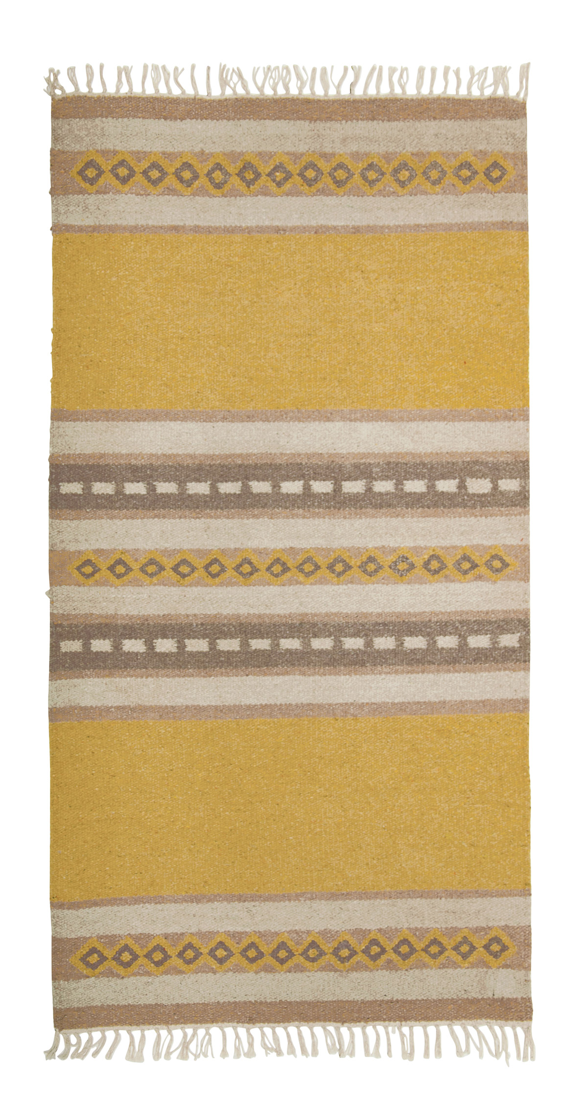 Gold Ochre Yellow and Brown Patterned Recycled Cotton Flat Weave Rug 3 Sizes Fair Trade GoodWeave