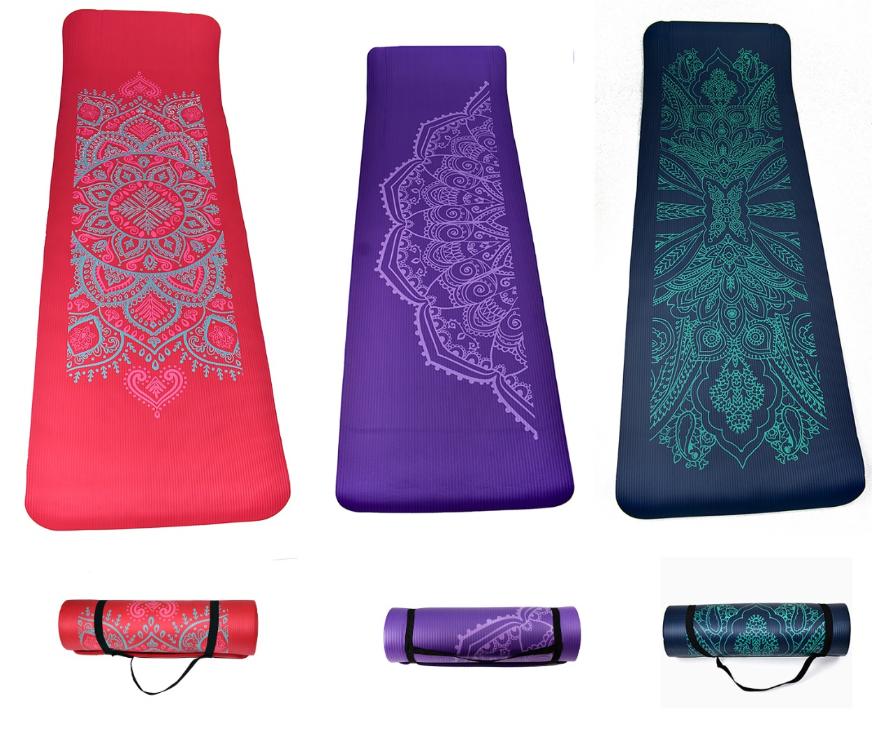 NBR Mandala 12 mm Thick Exercise Fitness Gym Yoga Mat 183cm x 61cm