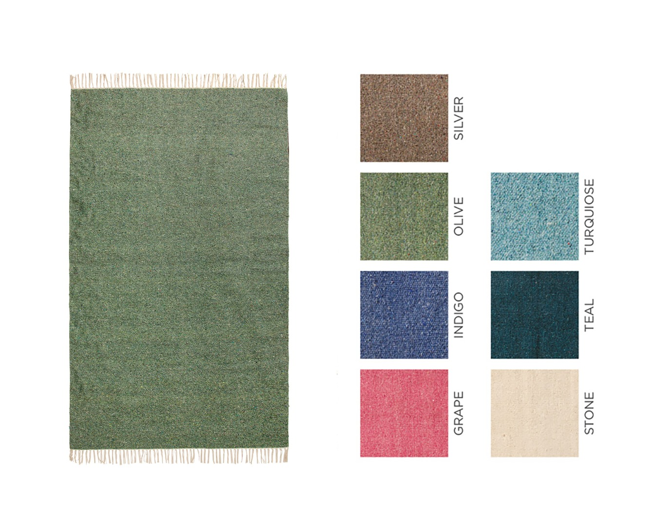 Plain Coloured Recycled Cotton Rug 120 x 180cm in 7 Colours Fair Trade GoodWeave