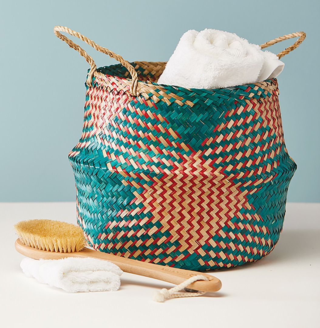 Large Seagrass Basket Teal/Red