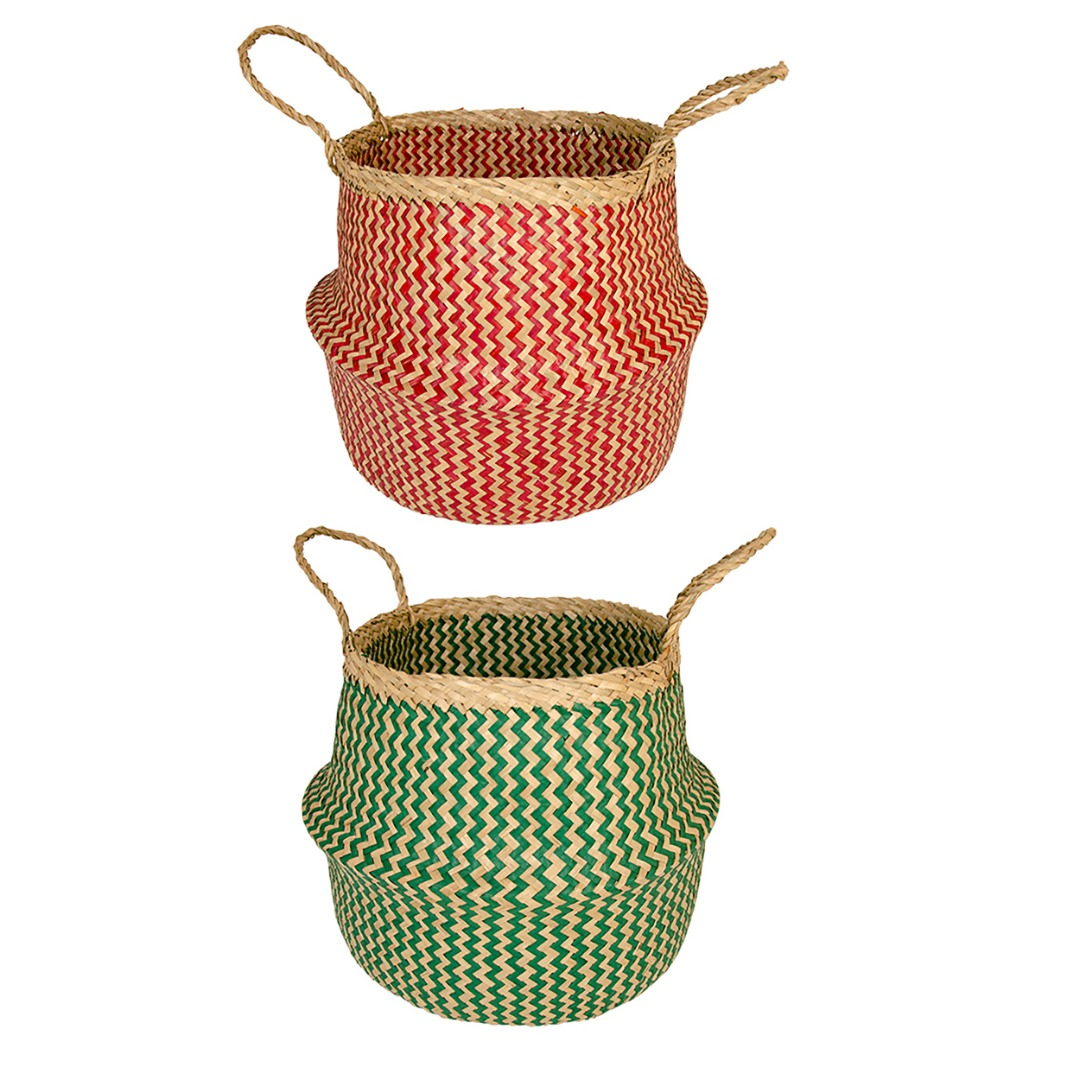 Zig-Zag Design Seagrass Storage Basket