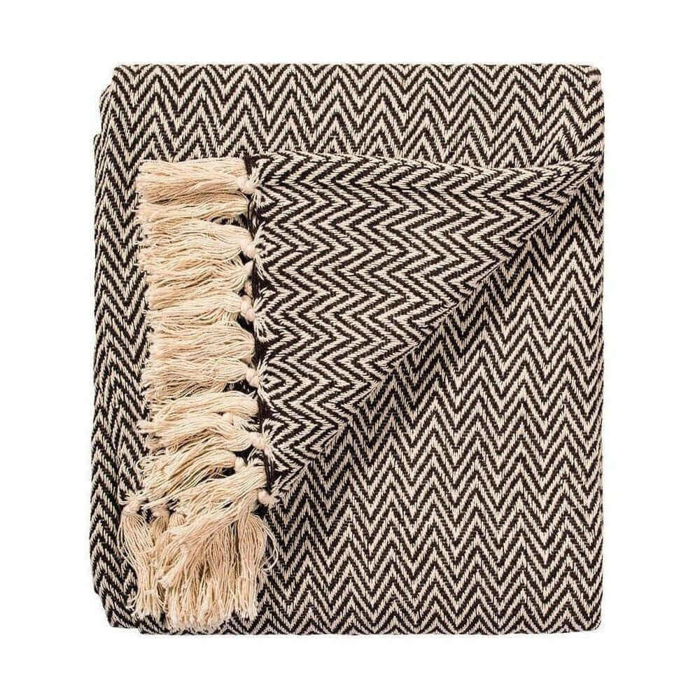 Chocolate Brown Chevron Soft Cotton Handloom Throw, A Fair Trade Blanket.