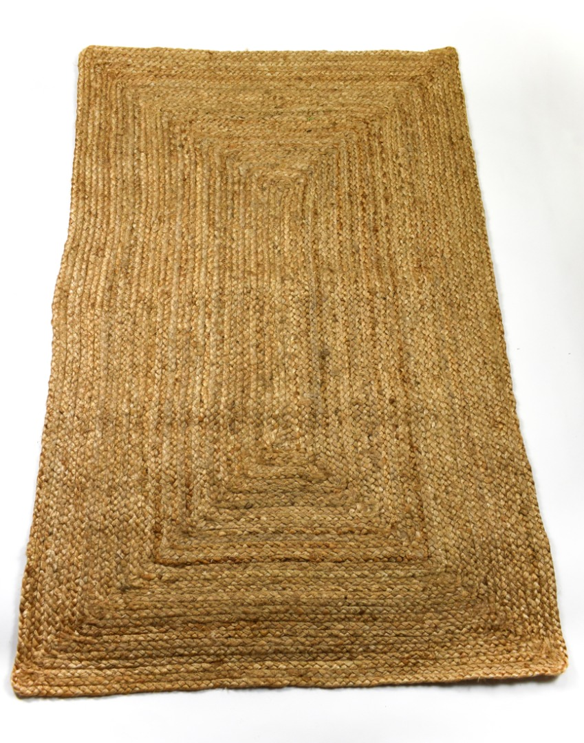 100% Natural Jute Rectangle Rug 3 Sizes Fair Trade