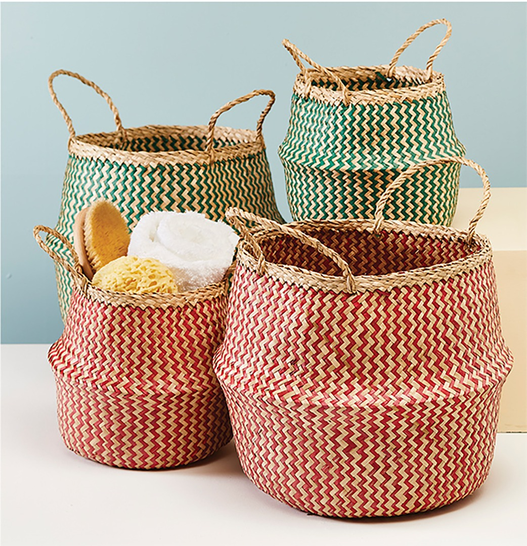 Small Zig-Zag Design Seagrass Weave Storage Basket Teal/Red